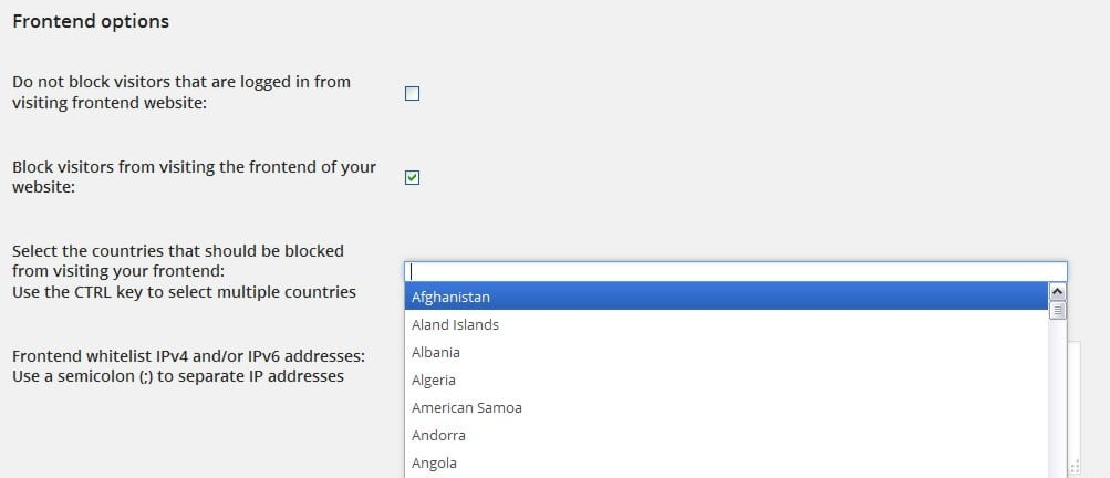 iQ Block Country frontend options