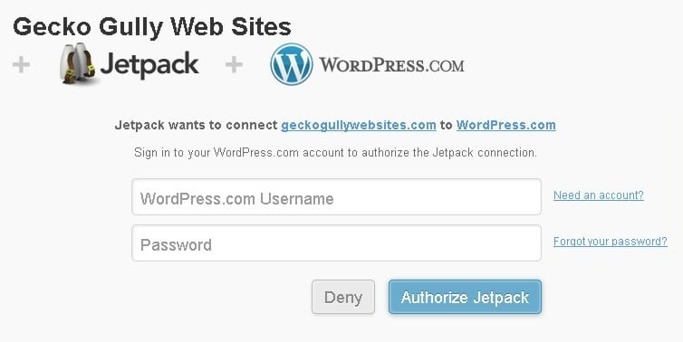 Jetpack connect to wordpress.com