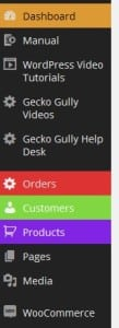 Gecko Gully Web Sites WordPress admin menu