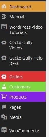 Gecko Gully Web Sites WordPress admin menu